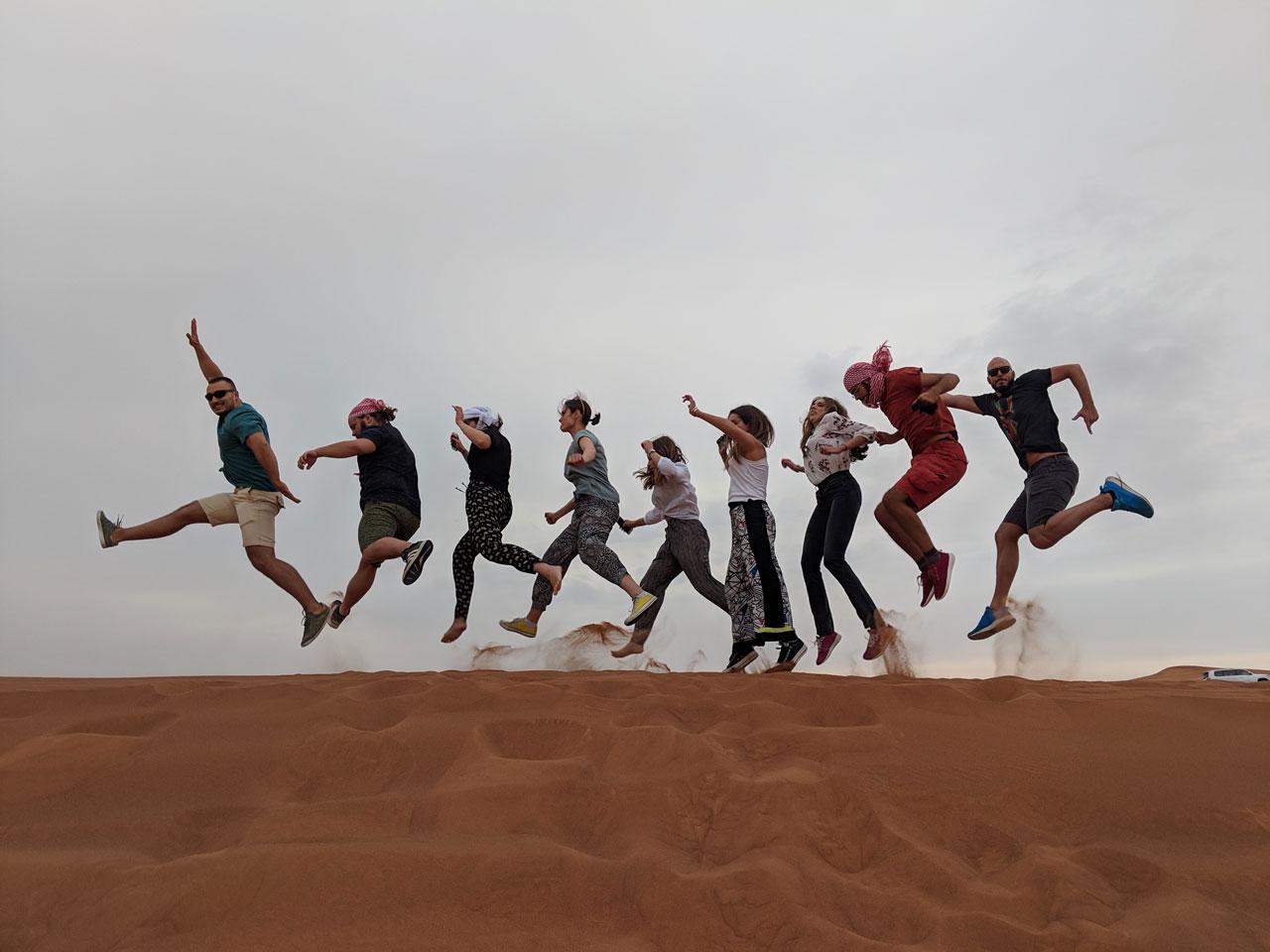the FishingBooker crew enjoying the desert near Dubai, UAE