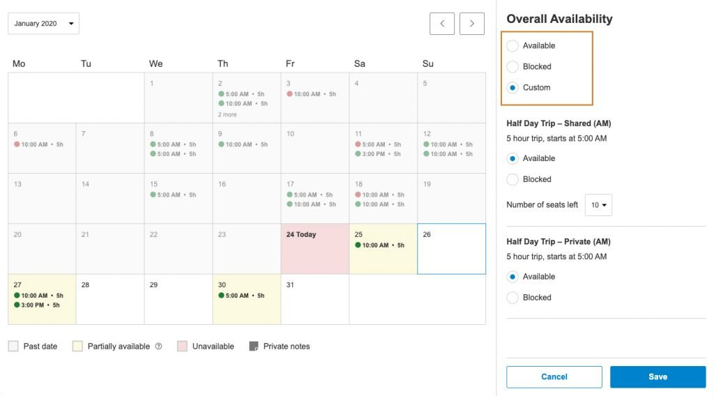 Calendar view with highlight on three availability options: available, blocked, or custom