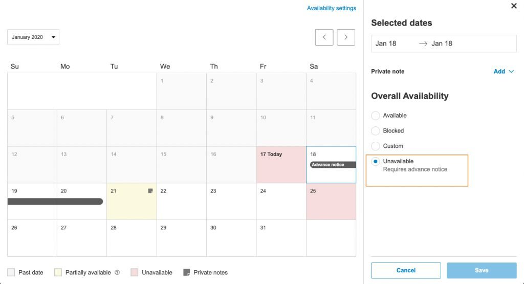 Calendar screenshot with highlight on advance notice bar rendering day unavailable